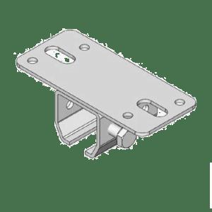 Bevestigingsbeugel type B02 met een voetplaat geschikt voor plafondmontage van NIKO Helm Hellas railprofielen