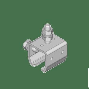 Bevestigingsbeugel type B64 met kort draadeind voor het bevestigen van NIKO Helm Hellas railprofielen