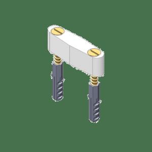 Wigvormig kunststof geleideblok met 2 schroeven voor schuif- en vouwdeursystemen van NIKO Helm Hellas