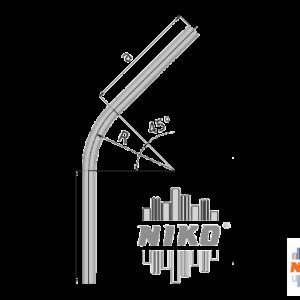 45° graden gebogen railprofiel type 27.000 geschikt voor railsystemen van NIKO Helm Hellas