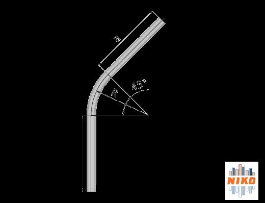 45° graden gebogen railprofiel type 75.000 geschikt voor railsystemen van NIKO Helm Hellas