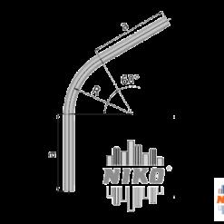 60° graden gebogen railprofiel type 27.000 geschikt voor railsystemen van NIKO Helm Hellas