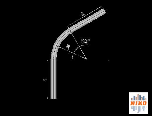 60° graden gebogen railprofiel type 75.000 geschikt voor railsystemen van NIKO Helm Hellas