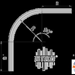 90° graden gebogen U-profiel type 35.000 geschikt voor railsystemen van NIKO Helm Hellas