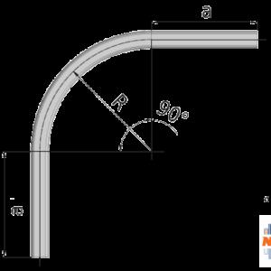 90° graden gebogen railprofiel type 75.000 geschikt voor railsystemen van NIKO Helm Hellas