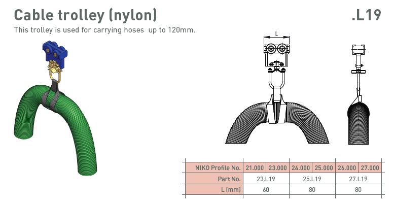 afbeelding met afmetingen en maatvoering van NIKO Helm Hellas product type L19